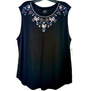 XXL Old Navy Black Linen Blend Embroidered Tank